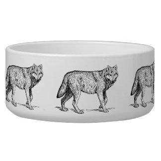 Gray Wolf Elegant Ink Drawing Pet Bowl