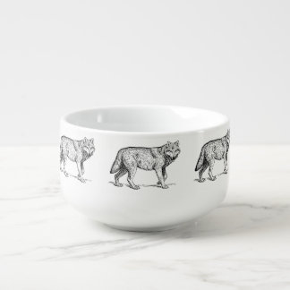 Gray Wolf Elegant Ink Drawing Soup Mug