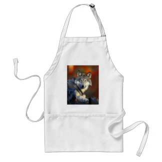 Gray Wolf, Endangered Species Digital Photography Adult Apron