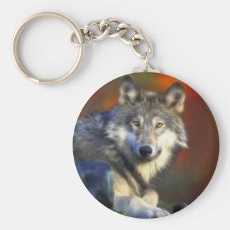 Gray Wolf, Endangered Species Digital Photography Basic Round Button Keychain