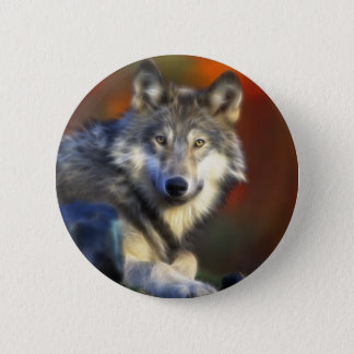 Gray Wolf, Endangered Species Digital Photography Button