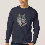 Gray Wolf Face Drawing Pull Over Sweatshirt