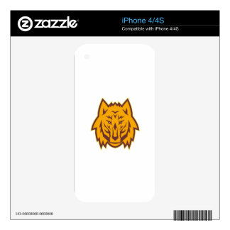 Gray Wolf Head Front Retro iPhone 4S Skin