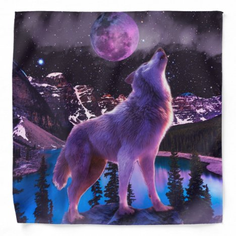 Gray wolf howling in forest bandana