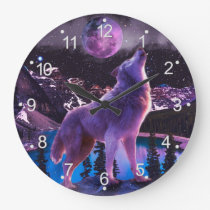 Gray wolf howling in forest large clock