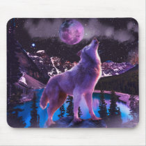 Gray wolf howling in forest mouse pad