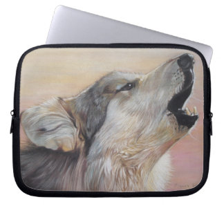 gray wolf howling wildlife painting realist art laptop sleeve