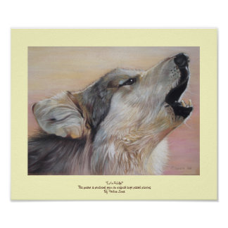 gray wolf howling wildlife painting realist art poster