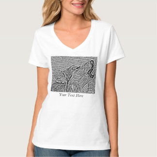 gray wolf howling wildlife painting realist art T-Shirt