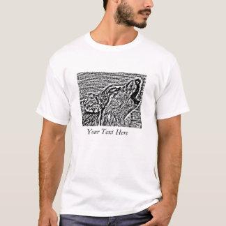 gray wolf howling wildlife painting realist art T-Shirt