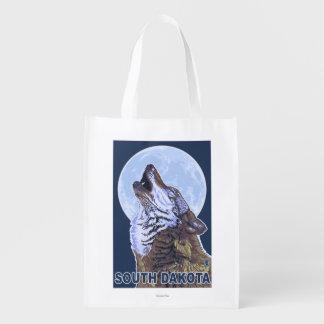 Gray Wolf HowlingSouth Dakota Reusable Grocery Bag