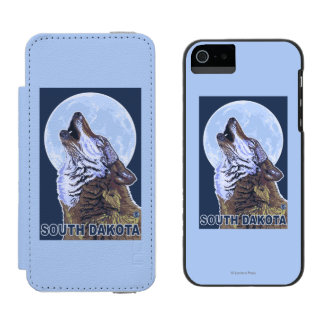 Gray Wolf HowlingSouth Dakota Wallet Case For iPhone SE/5/5s