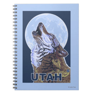Gray Wolf HowlingUtah Spiral Notebooks