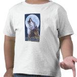 Gray Wolf HowlingWyoming T Shirt