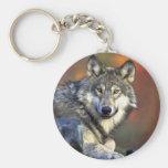 Gray wolf keychains