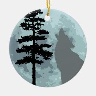 Gray Wolf Moon Ceramic Ornament