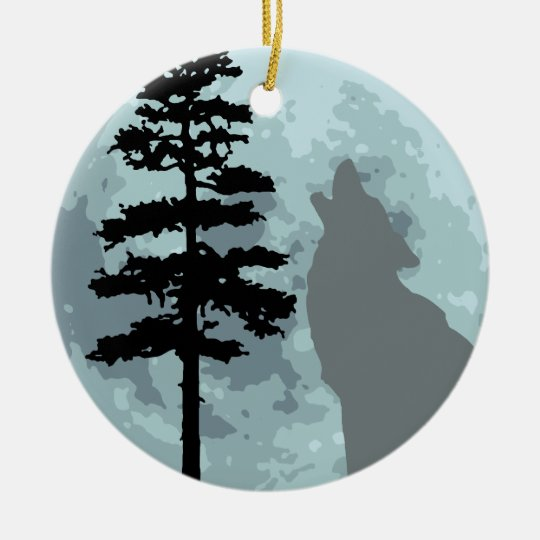 Gray Wolf Moon Ceramic Ornament