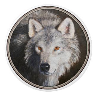Gray Wolf Portrait Ceramic Knob