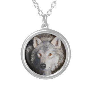 Gray Wolf Portrait Silver Plated Necklace