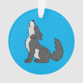 Gray Wolf Pup Howling Ornament