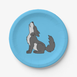 Gray Wolf Pup Howling Paper Plate