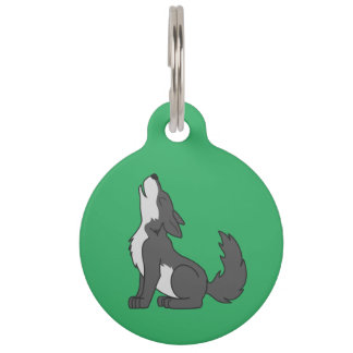 Gray Wolf Pup Howling Pet Name Tag