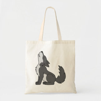 Gray Wolf Pup Howling Tote Bag