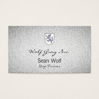 Gray Wolf Rampant on a White Shield Herald Business Card