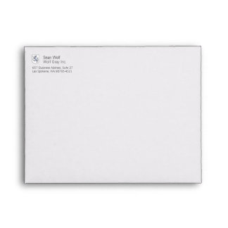 Gray Wolf Rampant on a White Shield Herald Envelope