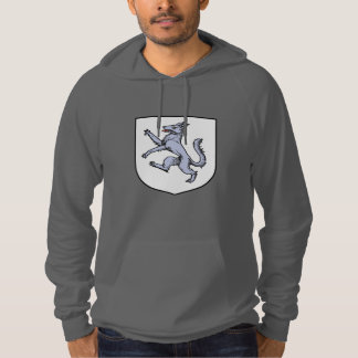 Gray Wolf Rampant on a White Shield Herald Hoodie