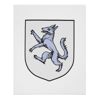Gray Wolf Rampant on a White Shield Poster