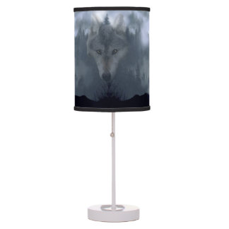 Gray Wolf Spirit & Green Forest Wildlife Art 2 Table Lamps