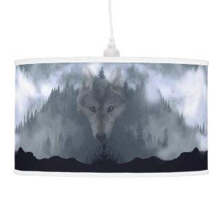 Gray Wolf Spirit & Green Forest Wildlife Art 2 Pendant Lamps
