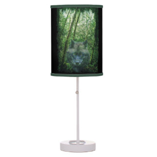 Gray Wolf Spirit & Green Forest Wildlife Art Table Lamps