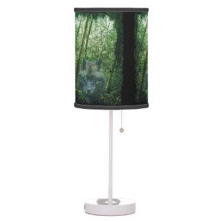 Gray Wolf Spirit & Green Forest Wildlife Art Table Lamp