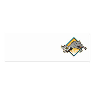 Gray Wolf Wild Dog Jumping Attacking Business Card Templates