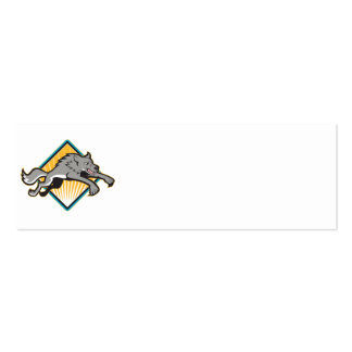 Gray Wolf Wild Dog Jumping Attacking Business Card Template