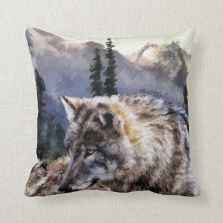 Gray Wolf Wilderness Picture Throw Pillow