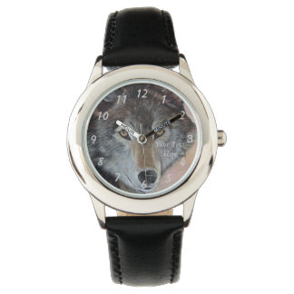 gray wolf wildlife painting realist portrait art wrist watch