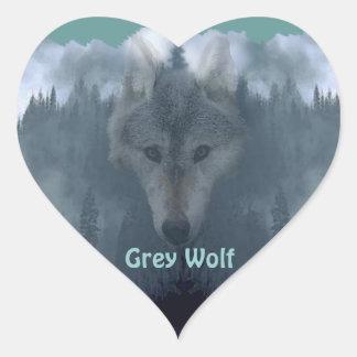 GRAY WOLF Wildlife Supporter Artwork Heart Sticker