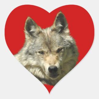 Gray Wolf Wildlife Supporter Design Heart Sticker