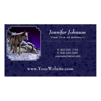 Gray Wolves in Snow Midnight Blue Business Card