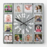 Gray Wood 12 Family Photo Collage  Farmhouse Square Wall Clock