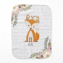 Gray Wood Baby Fox Floral Baby Burp Cloth