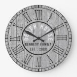 Gray Wood Beach House Black Roman Numeral Large Clock