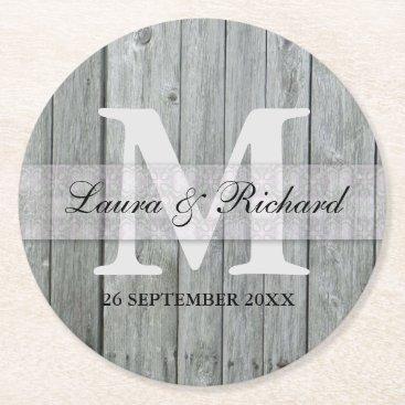 Bride Themed Gray Wood Bride And Groom Wedding Monogram Round Paper Coaster