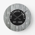 Gray Wood Country Farmhouse Family Name Round Clock