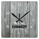 Gray Wood Country Wedding Anniversary Square Wall Clock