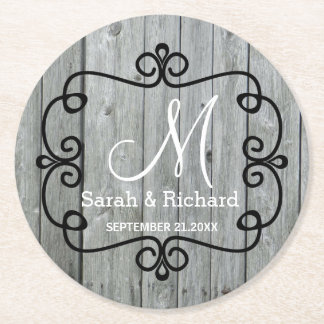 Gray Wood Country Wedding Monogram Round Paper Coaster