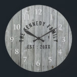 "Gray Wood Farmhouse Family Name Large Clock<br><div class=""desc"">Gray Wood Family Name Farmhouse Wall Clock - Farmhouse style wall clocks for the perfect addition to give your kitchen a country decor look.Personalize with family name and established year for an unique farmhouse wall clock.</div>"